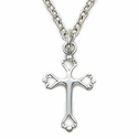 "Sterling Silver Cross With Open Heart Ends on 18"" Chain"