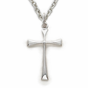 "Sterling Silver Cross Necklace in a Flare Stick Design on 16"" Chain"
