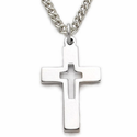 "Sterling Silver Rhodium Finish Cross Necklace in a Pierced Design on 18"" chain"