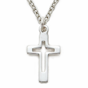 "Sterling Silver Cross Necklace With a Pierced Cross  Design on 18"" Chain"
