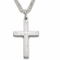 """Sterling Silver Cross Necklace in a Lined Design on 18"""" Chain"""