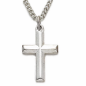 "Sterling Silver Cross Necklace in a Bevelled Design on 18"" Chain"