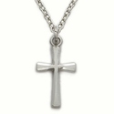 "Sterling Silver Cross Necklace in an Engraved Edge Design on 18"" Chain"