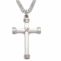 "Sterling Silver Cross Necklace in a Rope Ends Design on 20"" Chain"