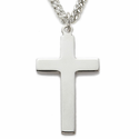 "Sterling Silver Rhodium Finished Cross Necklace in Plain Style Design on 24"" Chain"