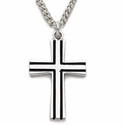 "Sterling Silver Cross Necklace in a Flared Design with Black Enamel on 18"" Chain"