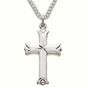 "Sterling Silver Cross Necklace in a Buddeds Ends Design on 18"" Chain"
