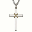 "Sterling Silver Cross Necklace in a 2-Tone Design with Centered  Rope on 24"" Chain"