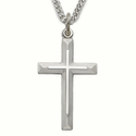 "Sterling Silver Rhodium Finish Cross Necklace in a Beveled Design on a 24"" Chain"