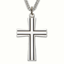 "Sterling Silver Cross Necklace in a Antiqued Flared Design on 24"" Chain"