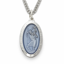 "Sterling Silver Oval  Blue Inlay St. Christopher Medal on 24"" Chain"