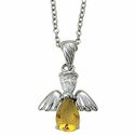 "Sterling Silver November Topaz Birthstone Angel Wing Necklace on 18"" Chain"