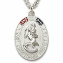 "Sterling Silver Tri-Color Oval St. Christopher Military Medal on 24"" Chain"