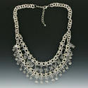 Rhodium Bib Necklace with Swarovski Crystals