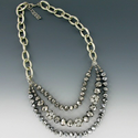 Silver Chain Necklace with Triple Strand Swarovski Crystals