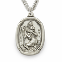"Sterling Silver Shield Engraved St. Christopher Medal on 24"" Chain"