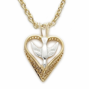 "14K Gold Over Sterling Silver Dove Necklace in a Heart Shaped Design on 18"" Chain"