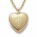"14K Gold Finish Sterling Silver Heart Locket  with Engraved Coss on 18"" Chain"