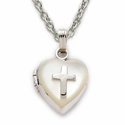 "Sterling Silver Pearl Finish Locket with Silver Cross on 18""  chain"