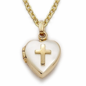 "Sterling Silver 14K Gold Finish Locket with Cross on 18"" gold chain"