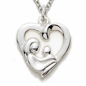 Sterling Silver Heart with Mother and Child