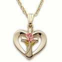 "14K Gold over Sterling Silver  Heart with Cross and Enameled Rose on 18"" Chain"