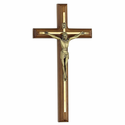 "12"" Walnut Brass Engraved Wall Crucifix"