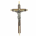 "7"" Walnut Engraved Brass Wall Crucifix"