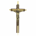 "7"" Walnut Wall Crucifix with Engraved Brass Antiqued  Gold Metal Corpus"