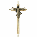 "8"" Oak Wall Crucifix  and Brass Cross with Risen Christ"