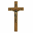 "8"" Wood Wall Crucifix w/ Metal Corpus"