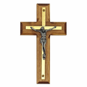 "4 1/2"" Wood Wall Crucifix with Brass Corpus"