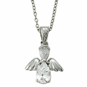"Sterling Silver April White Crystal Birthstone Angel Wing Necklace on 18"" Chain"