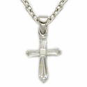 Sterling Silver  April White Crystal Birthstone  Baby Cross Necklace