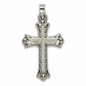 "1 1/4"" 14K White Gold Cross Pendant in a Budded Ends Design with a Florentine Finish"
