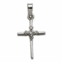 "7/8"" 14K White Gold Cross Pendant  in a Genuine Diamond Stick Style Design"