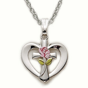 "Sterling Silver Heart with Cross and Enameled Rose on 18"" Chain"