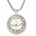 "Sterling Silver Dove Necklace in a Circle set with CZ Crystal Stones Design on 18"" Chain"