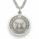"3/4""  Sterling Silver Navy Medal, St. Michael on Back on 20"" Chain"