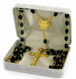 5X 7mm Polished Black Glass Beads Rosary Necklace and Miraculous Center