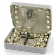 7mm Capped Pearl Beads Rosary Necklace with Miraculous Center and Crucifix Pendant
