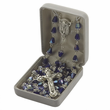 6mm Sapphire Crystal  Beads and Madonna Center Rosary