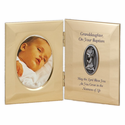 "8"" x 5"" Granddaughter Baptism Metal Photo Frame with Pewter Medallion"