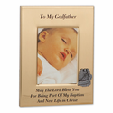"""6"""" x 8"""" Metal Godfather Photo Frame with Pewter Guardian Angel"""