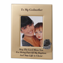 "6"" x 8"" Metal Godmother Photo Frame with Pewter Guardian Angel"