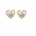 14K Gold Filled Heart and Dove Ear Post Earrings with Cloisonne Rose