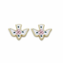 14K Gold Filled Dove Ear Post Earrings with Cloisonne Rose