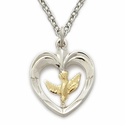 Sterling Silver Dove Necklace in a 2-Tone Heart Shape Design