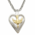 "Sterling Silver Dove Necklace in a 2-Tone Heart Shaped Filigree Design on 18"" Chain"