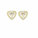 14K Gold Filled Hearts Enamel Cross Ear Post Earrings
